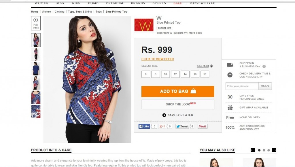 W Blue Printed Top from Jabong.com