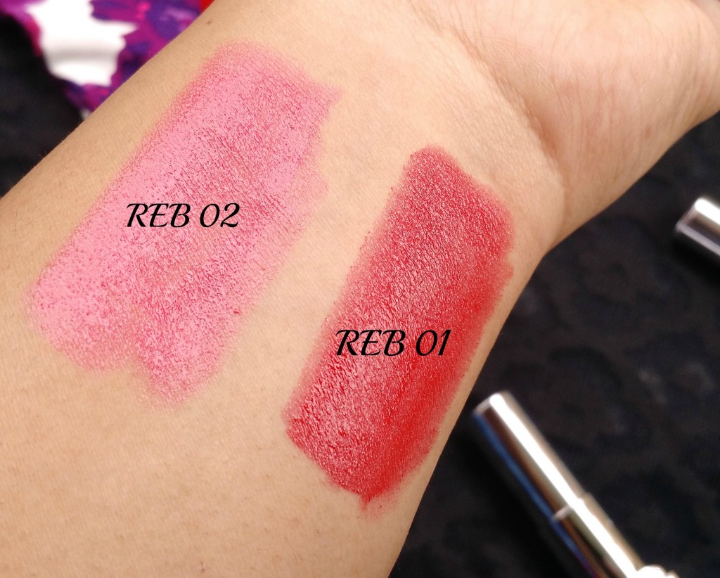 Maybelline REB01 & REB02 Swatches