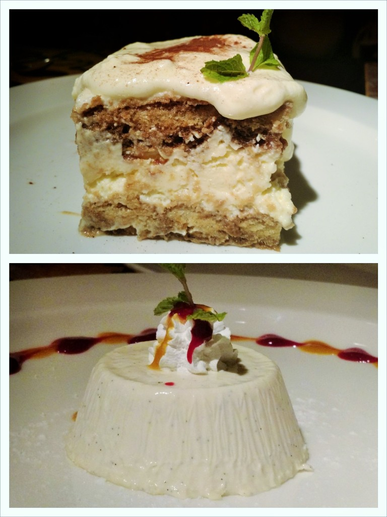 Serafina Tiramisu and Panna Cotta