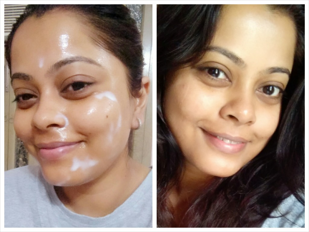 Before and after using the Bouncy Sleeping Mask