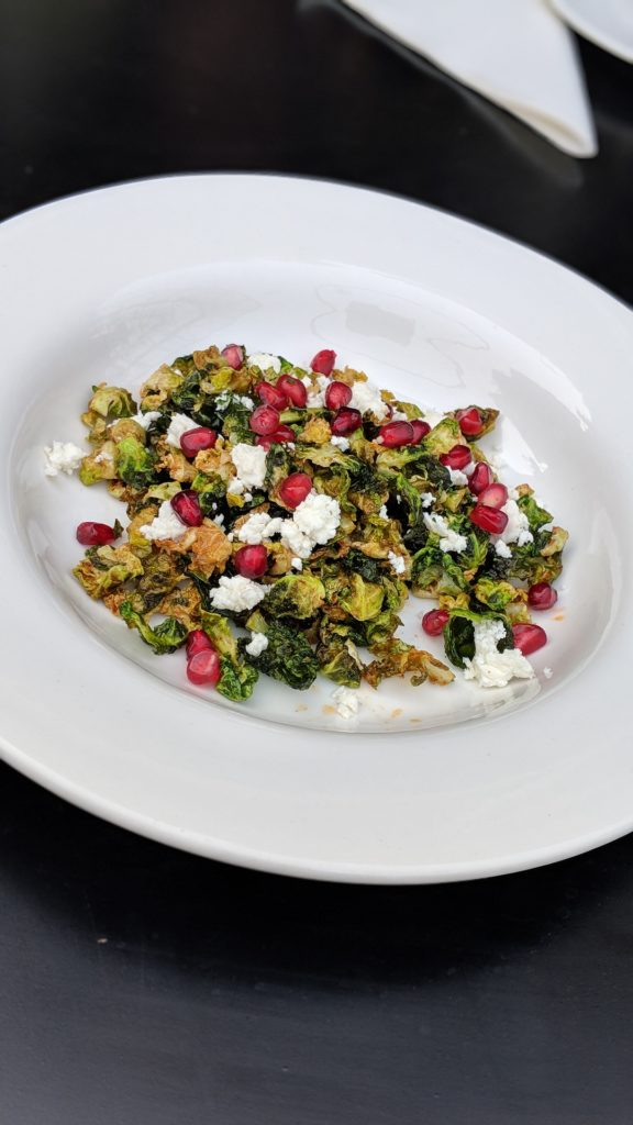 Fried Brussel Sprouts with Feta and Pomegranate Salad