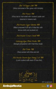 Sonar Ilish Festival menu